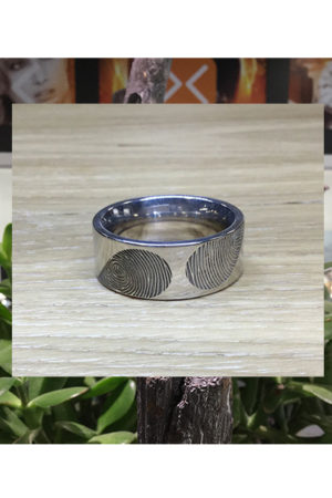 Ring met dubbele vingerafdruk BAX-17003 close up