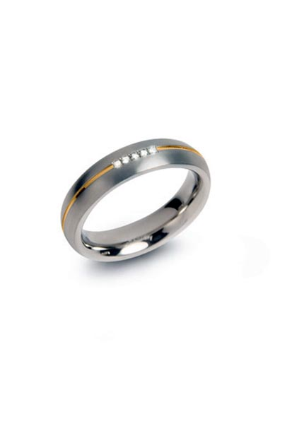 Boccia Titanium ring met 5 diamanten (0.025ct) 0130-04
