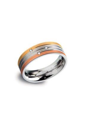 Boccia Titanium ring met 3 diamanten (totaal 0.015ct) 0135-03