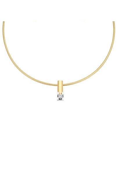 14 krt Briljant hanger bicolor bezet met 0.10 ct diamant excl. collier - 703221010