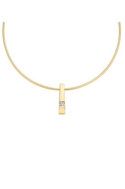 14 krt Briljant hanger geelgoud bezet met 0.05 ct diamant - 703271005