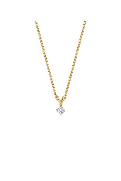 14 krt Briljant hanger geelgoud bezet met 0.10 ct diamant - 704051010
