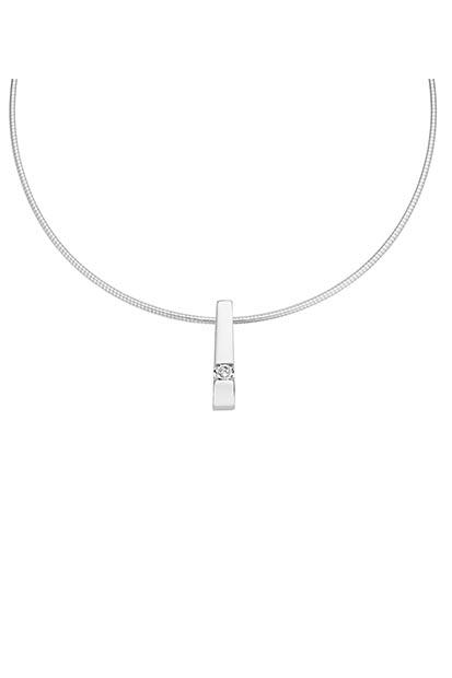 14 krt Briljant hanger witgoud bezet met 0.12 ct diamant - 753271012