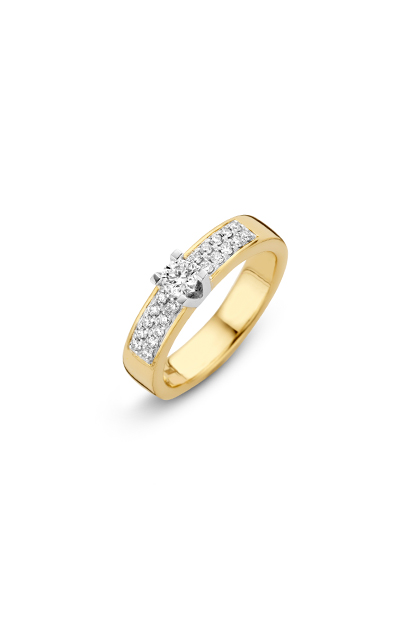14 krt Briljant ring bicolor bezet met 0.42 ct diamant - 607050011