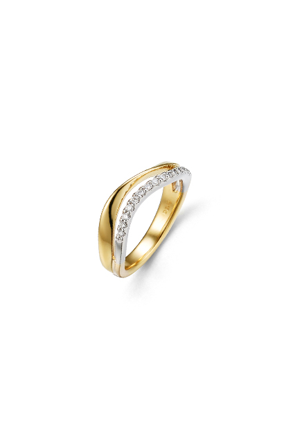 14 krt Briljant ring bicolor bezet met 0.16 ct diamant - 607070003
