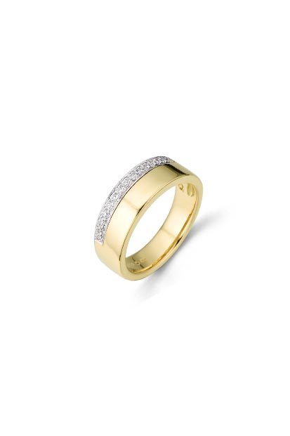 14 krt Briljant ring bicolor bezet met 0.15 ct diamant - 607070007
