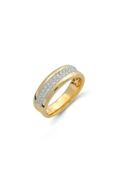 14 krt Briljant ring bicolor bezet met 0.20 ct diamant - 607070011