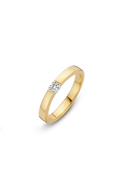 14 krt Briljant ring geelgoud bezet met 1x 0.05 ct diamant - 706110505