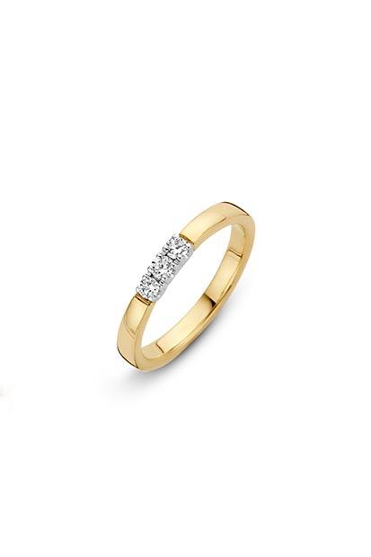 14 krt Briljant ring geelgoud bezet met 3x 0.07 ct diamant - 706110721