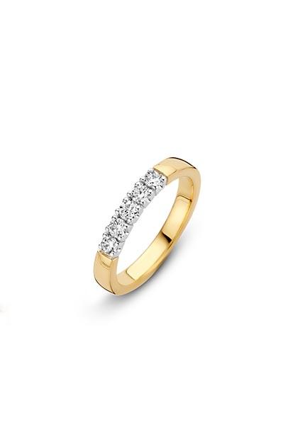 14 krt Briljant ring geelgoud bezet met 5x 0.07 ct diamant - 706110735