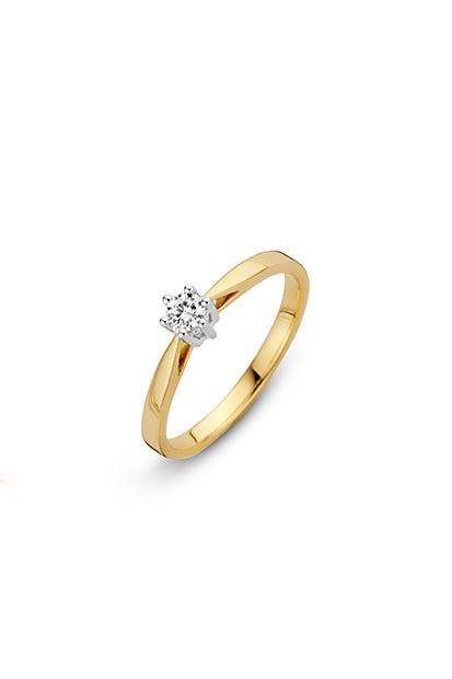 14 krt Briljant ring geelgoud bezet met 0.10 ct diamant - 707201010
