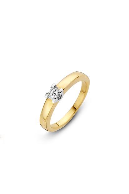 14 krt Briljant ring geelgoud bezet met 0.05 ct diamant - 707221005