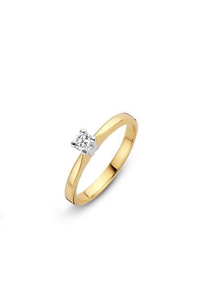 14 krt Briljant ring geelgoud bezet met 0.16 ct diamant - 707241016