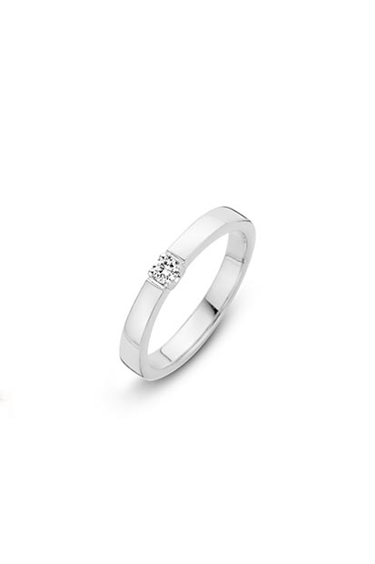 14 krt Briljant ring witgoud bezet met 1x 0.03 ct diamant - 756110303