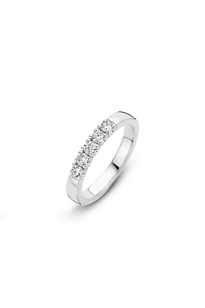 14 krt Briljant ring witgoud bezet met 5x 0.03 ct diamant - 756110315