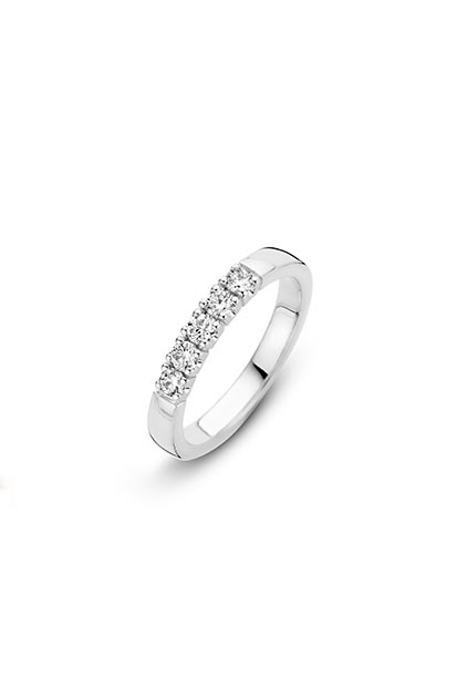 14 krt Briljant ring witgoud bezet met 5 x 0.05 ct diamant - 756110525