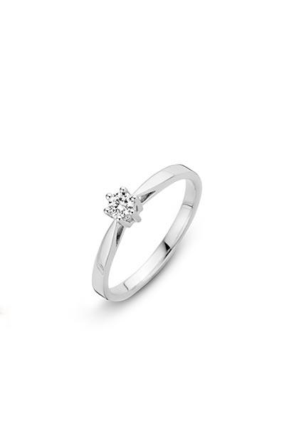 14 krt Briljant ring witgoud bezet met 0.15 ct diamant - 757201015
