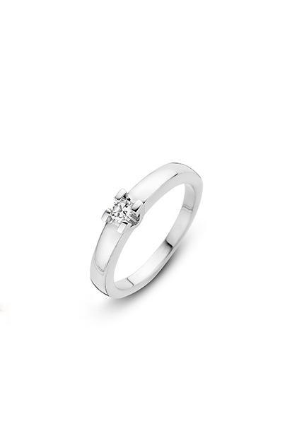 14 krt Briljant ring witgoud bezet met 0.10 ct diamant - 757221010