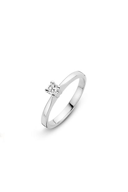 14 krt Briljant ring witgoud bezet met 0.09 ct diamant - 757241009