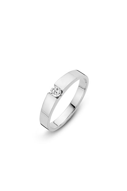 14 krt Briljant ring witgoud bezet met 0.15 ct diamant - 757271015