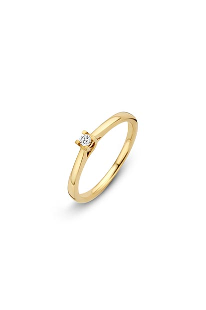 14 krt Briljant ring 'Amsterdam' geelgoud bezet met 1 x 0.05 ct diamant