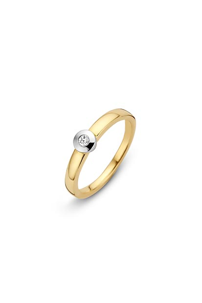 14 krt Briljant ring 'Barcelona' bicolor bezet met 1 x 0.05 ct diamant