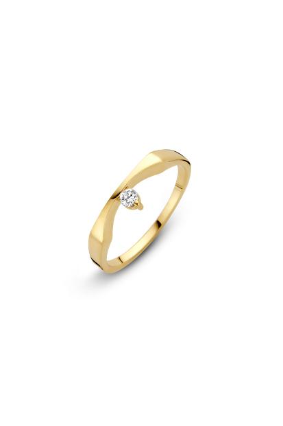 14 krt Briljant ring geelgoud bezet met 1 x 0.08 ct diamant - 707001353
