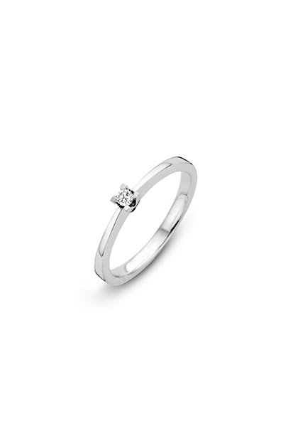 14 krt Briljant ring 'Florance' witgoud bezet met 1 x 0.05 ct diamant