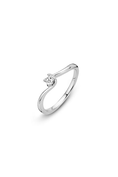 14 krt Briljant ring 'Geneva' witgoud bezet met 1 x 0.11 ct diamant