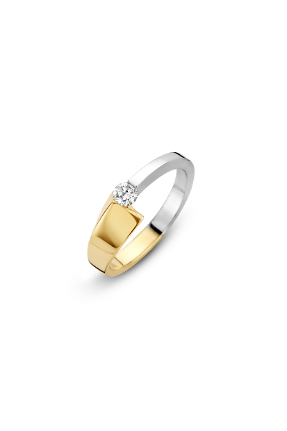 14 krt Briljant ring bicolor bezet met 1 x 0.12 ct diamant - 707001668