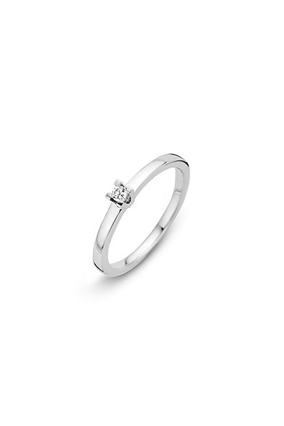 14 krt Briljant ring 'Milano' witgoud bezet met 1 x 0.05 ct diamant