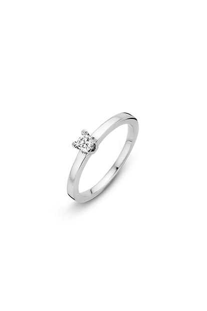 14 krt Briljant ring 'Moskow' witgoud bezet met 1 x 0.15 ct diamant
