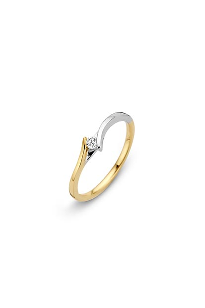 14 krt Briljant ring 'Roma' bicolor bezet met 1 x 0.05 ct diamant
