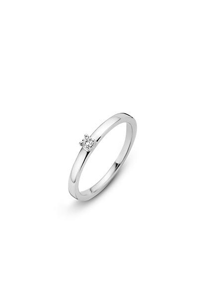 14 krt Briljant ring 'Venice' witgoud bezet met 1 x 0.05 ct diamant