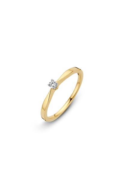 14 krt Briljant ring 'Vienna' bicolor bezet met 1 x 0.05 ct diamant