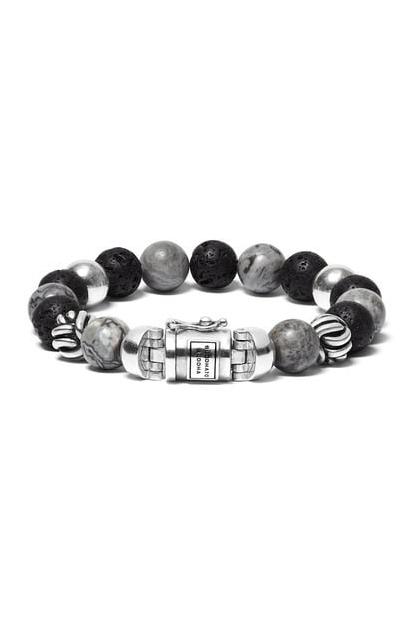 Buddha to Buddha Spirit Bead Mix Grey Picasso Jasper armband 21 cm - 188MG