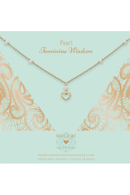 Heart to Get ketting Gemstone Open Heart Pearl N323GOP16G
