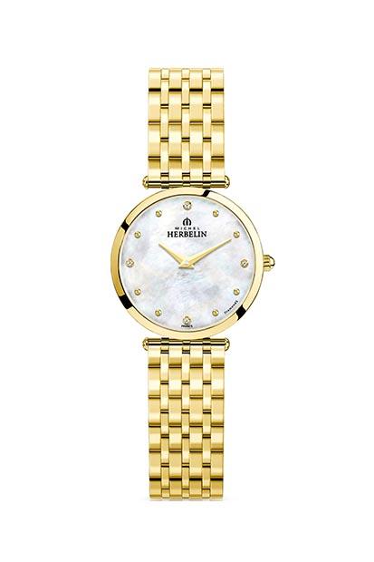 Michel Herbelin dames horloge bezet met 0.02 ct diamant - 17116-BP89