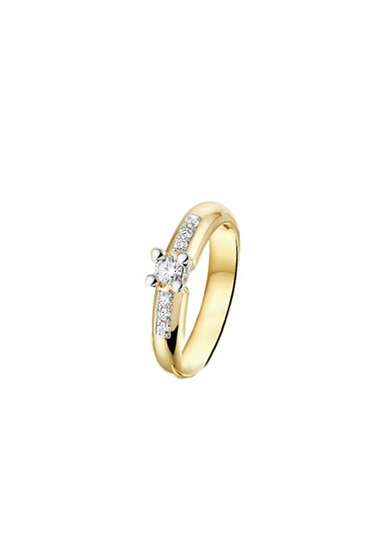 PAS Diamonds gouden ring bezet met 0.15 ct briljant - GD1812