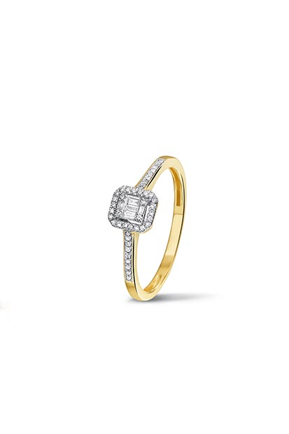 PAS Diamonds gouden ring bezet met 0.12 ct briljant - GF0409