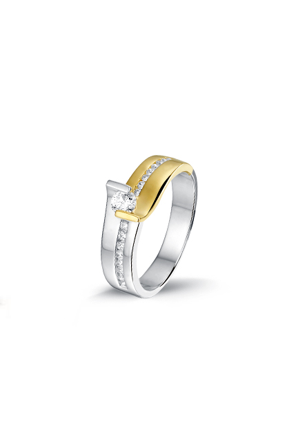 PAS Diamonds bicolor ring bezet met 0.33 ct briljant - GP0750